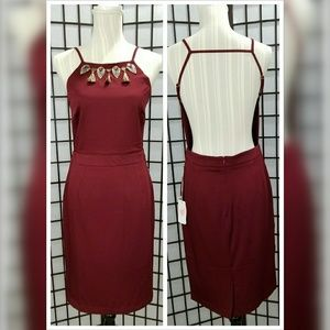 Wine Colored Backless Dress